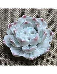 Liebeye 香炉 手造り 茶道用品 おしゃれ 陶器 蓮花型 お香立て 線香 香立て ピンク辺 3穴