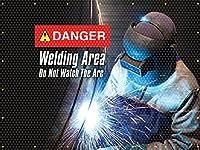 Accuform PWD108YL Translucent Vinyl Welding Screen, Danger Welding Area Do Not Watch Front/Yellow Back, 6' x 6'