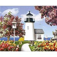 デジタル油絵,ホワイトタワー Diy 手塗りデジタルペインティングの大人の子供の初心者の抽象的なキャンバスの絵画のアートワークのリビングルームの装飾が施され、デジタル絵画ギフト、フレーム 40 × 50 cm でペイント