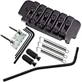 A Set 6 String Saddle Tremolo Bridge for Electric Guitar Heavy Thickened Base (Black)