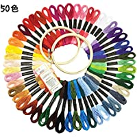 50色 カラーが豊富できれい 刺しゅう糸 刺繍系 + 2個刺繍枠 まとめ買いオリジナルセット 16本針付き