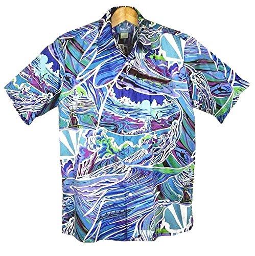 メンズ アロハシャツ パープル/ブルー 紫/青/緑波柄