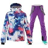 OLEK Women's High Waterproof Windproof Technology Colorful Snowboarding Jacket Ski Pants Set