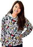 (ディズニー) Disney パーカー レディース 長袖 プルオーバー ミッキー 総柄 スウェット 3color L ミディアムグレー
