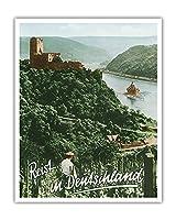 ドイツへの旅 - Fuerstenberg城跡 - ライン渓谷 - ビンテージな世界旅行のポスター によって作成された F.クラッツ c.1950s - アートポスター - 41cm x 51cm