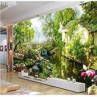 Ansyny 3D壁紙絵画国の川カスタムファンタジー緑の風景の壁紙ステッカー不織壁紙ロール-260X175CM