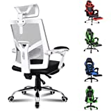 ALFORDSON Mesh Office Chair Gaming Executive Fabric Seat Racing Footrest Recline (Mesh White)