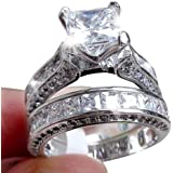 Zhiwen Lovely Ring -2-in-1 Womens Vintage Princess Cut Topaz Cz 10KT White Gold Filled White Diamond Silver Engagement Weddin