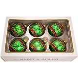 Kurt Adler Set of 6 Fleur De Lis Glass Ornaments
