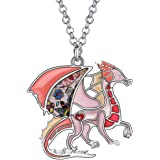 BONSNY Enamel Fantasy Dragon Dinosaur Necklaces Pendant for Women Jewelry Lucky Symbol