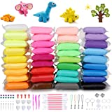 DaCool Modeling Clay 36 Colors Air Dry Ultra Light Soft Magic Molding Clay DIY Plasticine Craft Toy with Multiple Tools, Grea