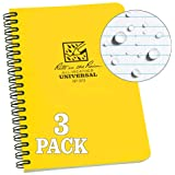 """Rite in the Rain Weatherproof Side Spiral Notebook, 4.625"""" x 7"""", Yellow Cover, Universal Pattern, 3 Pack (No. 373L3)"""