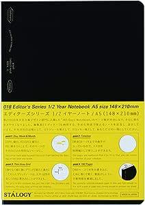 ニトムズ STALOGY ノート 1/2イヤーノート A5 方眼 ブラック S4108