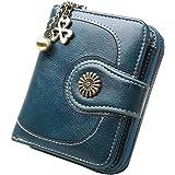 [Kayiyasu] 財布 レディース財布 ミニ 長財布 三つ折り がま口 小銭入れ付き カード入れ 大容量 多機能 携帯電話入れ(F, ブルー)