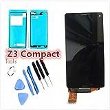 ソニー Sony Xperia Z3 Compact 修理用 フロントパネル 液晶パネルセット Kayyoo フロントガラスデジタイザ タッチパネル 粘着テープ+修理工具付き (ブラック)