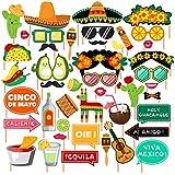 CC HOME メキシカンフィエスタパーティー用品 フィエスタフォトブース用小道具 カーニバルパーティー 結婚式 誕生日パーティー ベビーシャワー シンコ?デ?マヨパーティー用デコレーション 44個