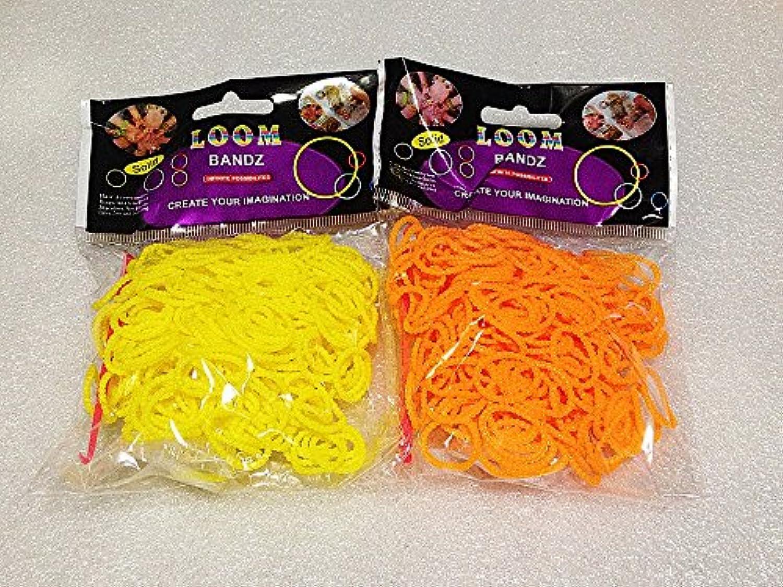 [Artasy ™][並行輸入品] DIY 凹凸カラーゴムバンドブレスレット (イエロー + オレンジ) Loom Bands refill Pack - (300 + 300 pcs) Unevenness rubber ring Color: yellow + orange