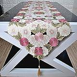 三色花柄刺繍 おしゃれ 色とりどり ボタニカル可愛いらしい テーブルランナー インテリア アクセント植物柄 自然派 タッセル付き
