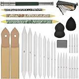 WOWOSS 23 Pieces Blending Stumps and Tortillions Set with 2 Pcs Sandpaper Pencil Sharpener, Pencil Extension Tool, 2 Sponge S