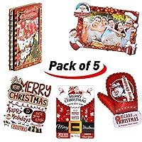 クリスマス おもしろグリーティングカードセット - ハンドメイド木製クリスマスギフト、フォトフレーム、ノートブック、ポストカード、招待状、グリーティングカード、キュート。 マルチカラー SDTZBK-1