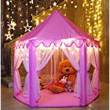 Monobeach Princess Tent Girls Large Playhouse Kids Castle Play Tent with 20 Feet Star Lights for Children Indoor and Outdoor Games, 55'' x 53'' (DxH)