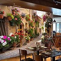 caomei カスタム3D写真の壁紙風景リビングルームのソファ背景風景郷愁の家と鉢植えの花壁の壁画@ 360cm(W)* 230cm(H)