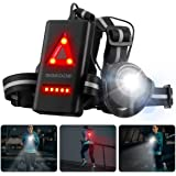 SGODDE Outdoor Night Running Lights, LED Chest Run Light with 120° Adjustable Beam, Safety Back Warning with Rechargeable Bat