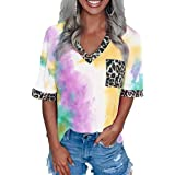 Prinbara Women Tie Dye Tee Shirts Casual Loose Fit Short Sleeves V Neck Tops