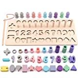 Montessori Toys for Toddlers, 88PCs Wooden Blocks Color Shape Sorter Fishing Games for Kids, Number Counting Stacking Blocks,