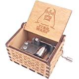 Star Wars Music Box Hand Crank Musical Box Carved Wooden,Play Star Wars Theme Song,Brown
