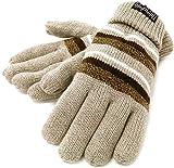 (シンサレート) Thinsulate 手袋 メンズ ニット グローブ ボーダー 高機能中綿素材 5color (Free, ベージュ)