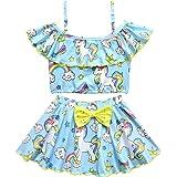 Rauoawby Girls' Off Shoulder Swimwear Ruffle Top Bikini Two Piece Unicorn Beachwear Swimsuit Tankini Costume Skirts