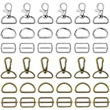 60Pcs Keychain Bulk with Key Chain Swivel Hook D Rings and Slide Buckles for Handbag Purse Hardware Craft, Lanyard (2 Color)