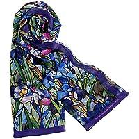 "Silk Scarf Scarves for Women 64"" x 18"" Blue Louis C. Tiffany Iris Design"