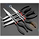 Mostbest 5 Piece Long Reach Pliers Set - Long Needle Nose Pliers Sets - Straight, 25, 45, 90-Degree Angle, Long Reach Circle