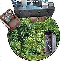Outhouse ラウンド エリア ラグ カーペット カントリー 農場 生物 コテージ小麦 草 空の下 イメージ 滑り止め エリアラグ (直径55インチ) マリゴールドグリーン ブルー ホワイト.jpg 5'/1.5m