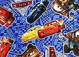 ディズニー) カーズ 3【Cars3/ブルー】プリントオックス生地 ■10cm単位■キャラクター生地