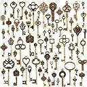 MYHO 金古美 金属 鍵型 70個セット チャームアクセサリーパーツ 福袋 レジン 素材 DIY用 クラフトパーツ ジュエリー用 手作り素材 飾り レトロ クラフトパーツ ネックレス ギフト ハンドメイド 材料