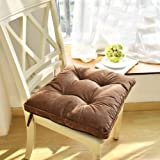 "Nathime Soft Patio Outdoor Chair Pads with Ties Home Decor Indoor Dining Chairs Cushion 16.9""×16.9""×3.8"" Brown"