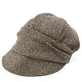 クイーンヘッド AWシャイニングキャスケット 大きいサイズ 小顔 帽子 レディース キャスケット つば長 つば広 UV 紫外線対策 【フリーサイズ(56-58cm)-ブラウン】