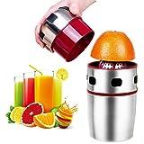 Citrus Juicer, Lukasa Manual Juicer Portable Stainless Steel Hand Orange Juicer Lid Rotation Squeezer for Oranges, Lemons, Ta