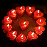 (Red) - Celestte (TM) Scented Candles, 12 Pcs Sweet Romantic Love Heart Shaped Floating Candle for Home Decorations Wedding B