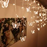 BJYHIYH 4.9ft x 1.6ft Curtain Lights 8 Modes USB Powered Curtain String Light 10 Butterflies Twinkle Lights for Christmas Wed