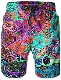 メンズ ビーチショーツ ショートパンツ サイケデリックプリント 水着 スイムショーツ サーフトランクス インナーメッシュ付き 通気 速乾