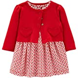Carter's Valentines Day Dress with Red Cardigan for Baby Girls