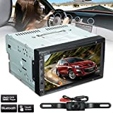 Audew Double 2Din 7inch Touch Screen HD CD DVD Car Stereo Player AUX Input Bluetooth+Camera