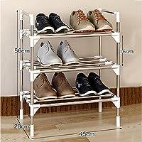 3段靴ラック、シンプルなステンレススチールキャビネット家具オーガナイザー棚6?12脚用 (サイズ さいず : 45 * 28 * 56cm)