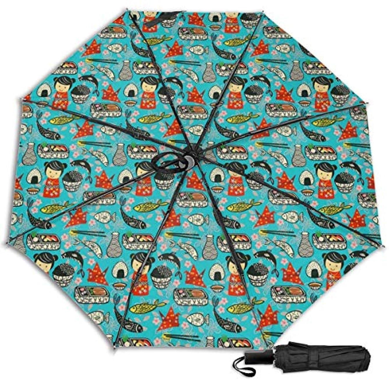 オリエントディレクターブーム日本寿司かわいい日傘 折りたたみ日傘 折り畳み日傘 超軽量 遮光率100% UVカット率99.9% UPF50+ 紫外線対策 遮熱効果 晴雨兼用 携帯便利 耐風撥水 手動 男女兼用