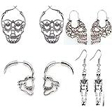 4 Pairs Halloween Skull Skeleton Earrings Hollow Skull Face Hoop Stud Earrings Punk Style Gothic Scary Silver Drop Dangle Ear