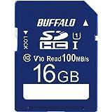 バッファロー SDカード 16GB 100MB/s UHS-1 スピードクラス1 VideoSpeedClass10 IPX7 Full HD データ復旧サービス対応 RSDC-016U11HA/N